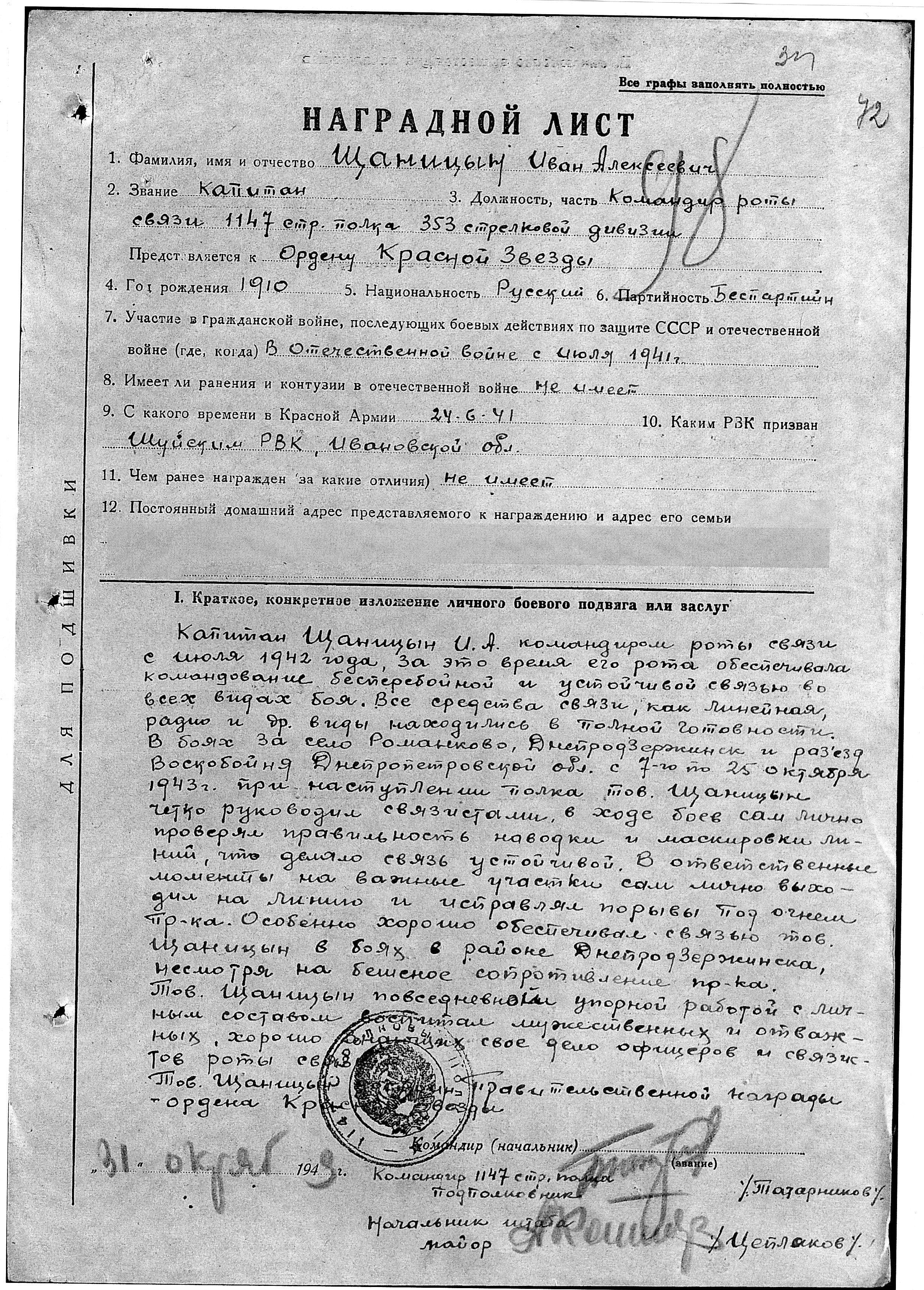 Щаницин Иван Алексеевич