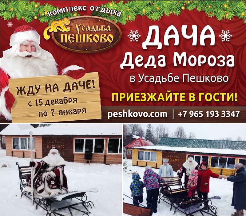 Отдых в Подмосковье с детьми на Новый Год - Усадьба Пешково